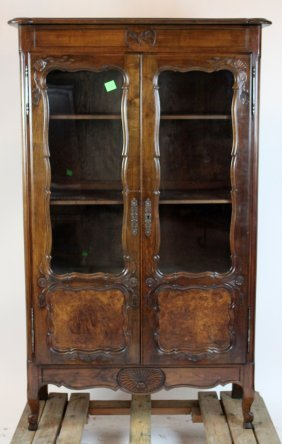 French Provincial Walnut 2-door Bookcase