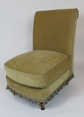 Rolled Back Armless Chair In Velvet