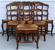 Set of 6 French ladder back side chairs