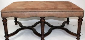 French Style Leather & Mahogany Ottoman