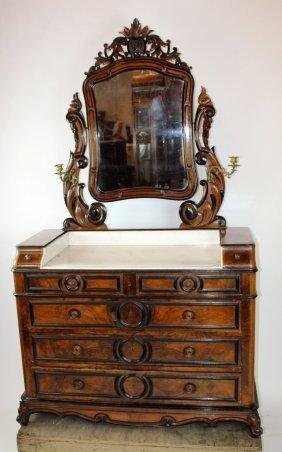 Victorian Commode Walnut & Ebony With Marble