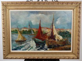 Oil On Canvas Sailing Ships