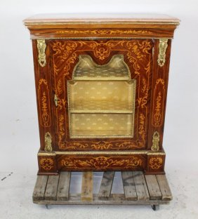 Marquetry Cabinet With Vitrine And Marble Top
