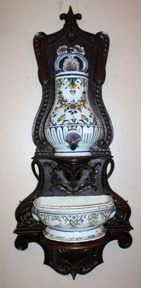 18th C. Rouen Faience Lavabo On Carved Stand