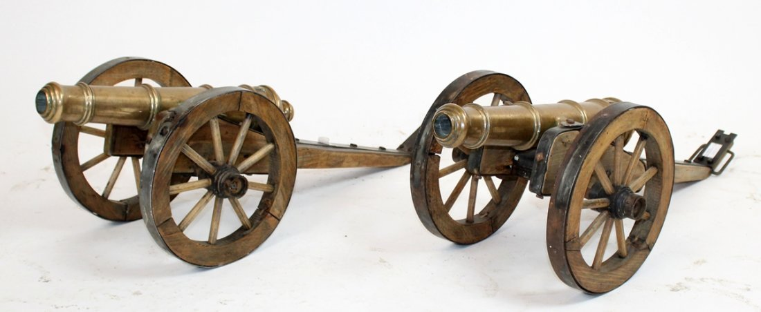 Pair of French bronze model cannons
