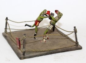 Cold Painted Bronze Of Boxing Frogs