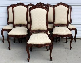 Set Of 8 Louis Xv Style Dining Chairs