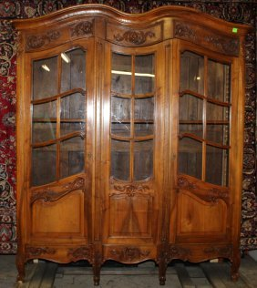 French Provincial Bookcase In Cherry With Paned Glass