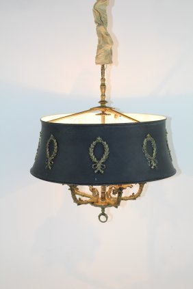 Empire Style Bronze Chandelier With Tole Shade