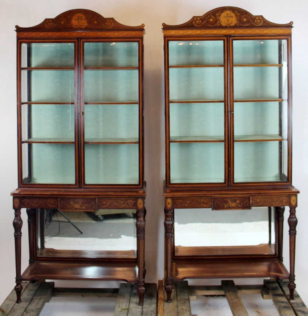Pair Federal style inlaid china cabinets.