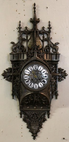 French Gothic Revival Wall Clock In Cast Iron