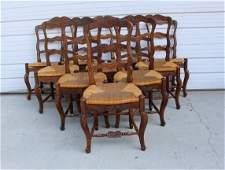 Set of 10 French ladder back side chairs