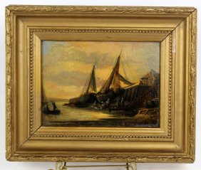 Early 20th C Oil On Artist Board-sailboats