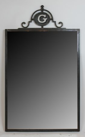 French Painted Iron Advertising Mirror With G