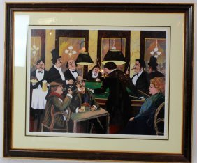"""Guy Buffet Signed & Numbered Serigraph 'billiards"""""""