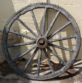 Antique Wooden Wagon Wheel.