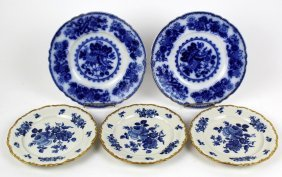 Lot Of 5 Blue & White Porcelain Plates