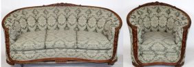 French Art Deco Curved Back Sofa & Chair
