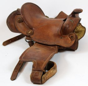 Vintage Leather Western Riding Saddle