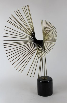 Curtis Jere Brass Sculpture On Marble Base