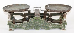 Antique French Cast Iron & Enamel Balance Scale