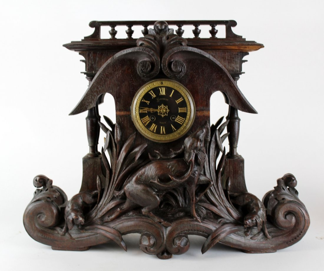 French F. Berthoud carved walnut black forest clock