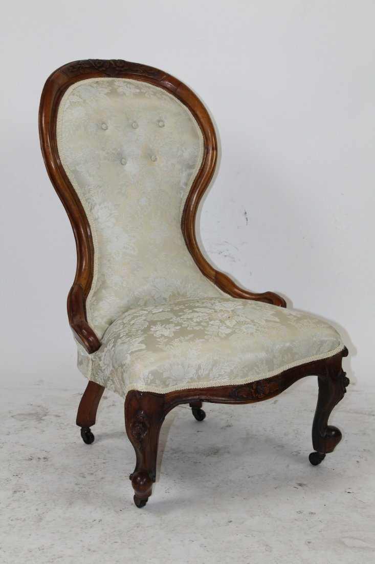 Victorian ladies slipper chair in carved walnut