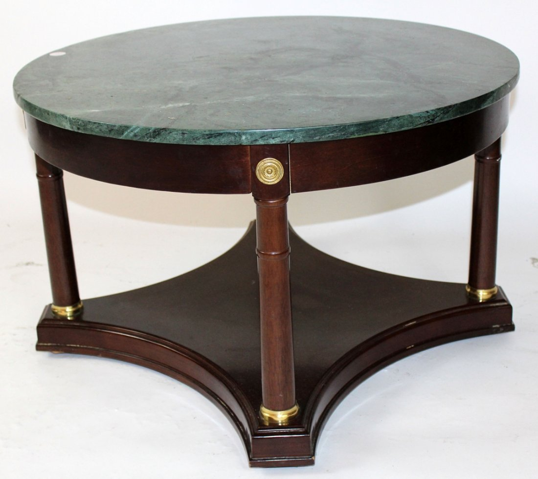 Empire style round cocktail table with green marble top