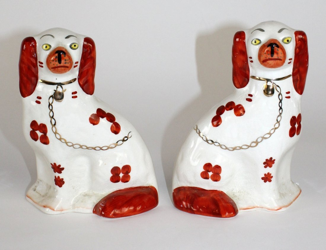 Pair of English Staffordshire dogs