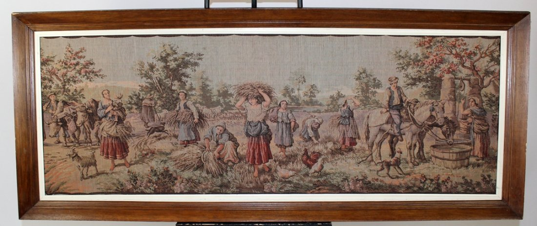 Framed tapestry depicting wheat field