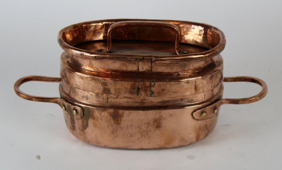 Antique French copper daubiere stew pot