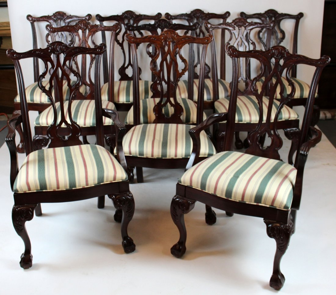 Set of 10 Thomasville Chippendale style chairs