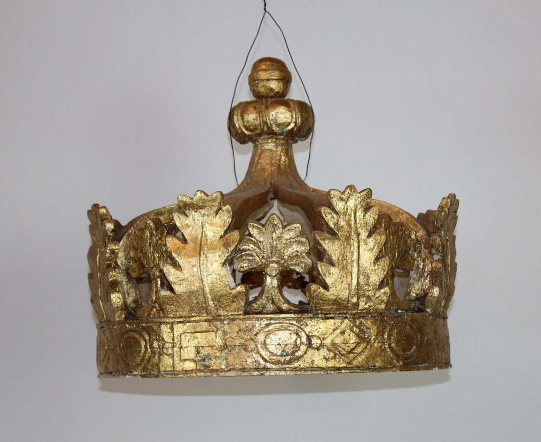 Gilt wood crown bed canopy
