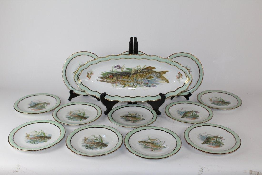 French Limoges porcelain fish service