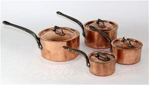 Nest of 4 French Mauviel copper pots with lids