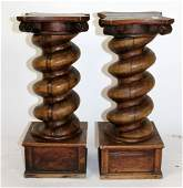 Pair Italian walnut barley twist columnar pedestals