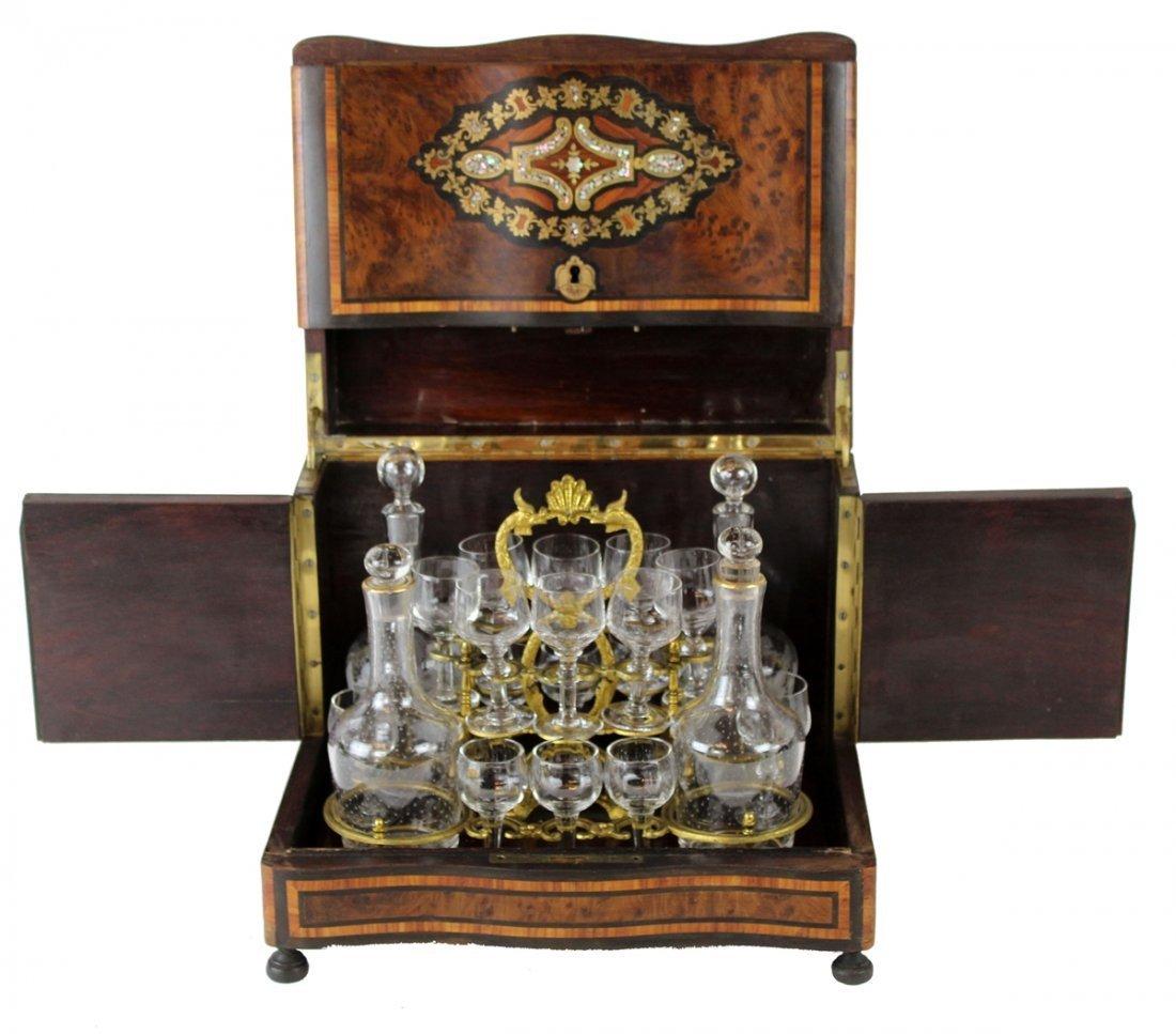 French Napoleon III inlaid tantalus set