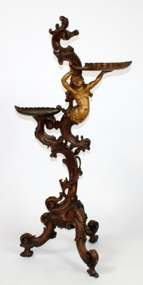 Italian grotto carved stand with caryatid