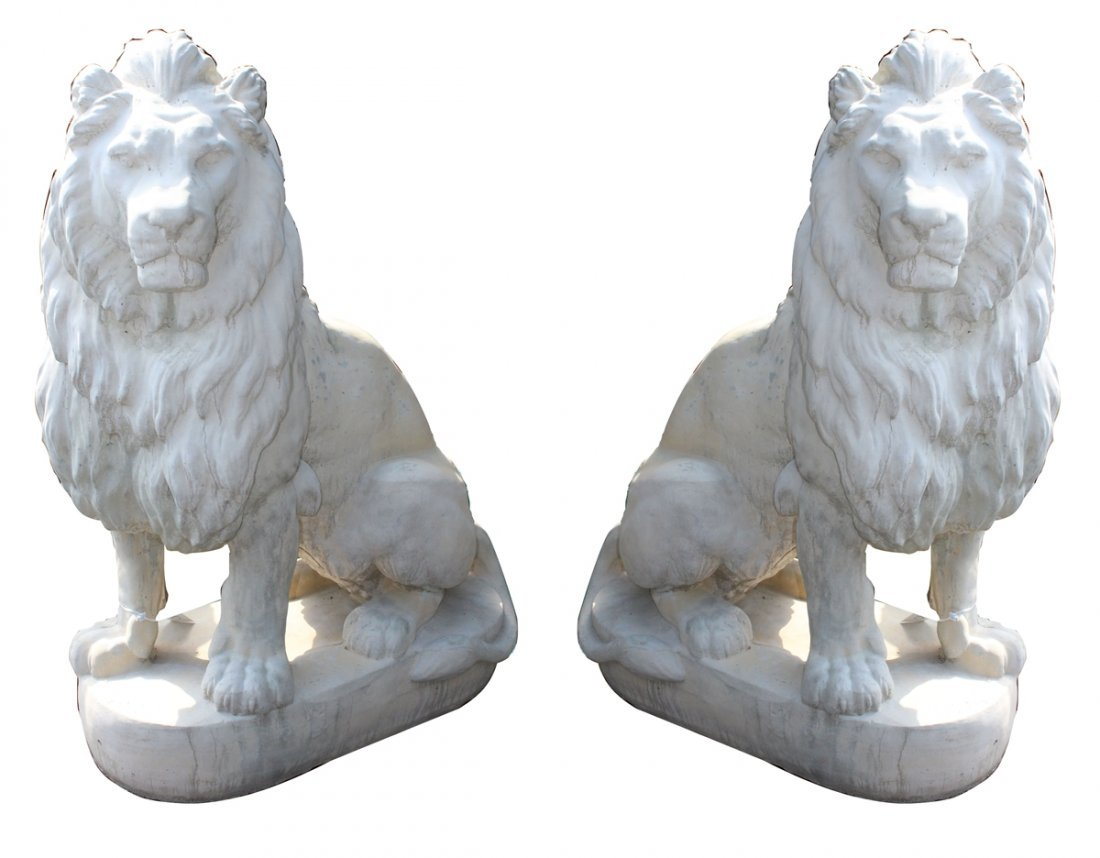 Pair of large scale Belgian cast seated entry lions