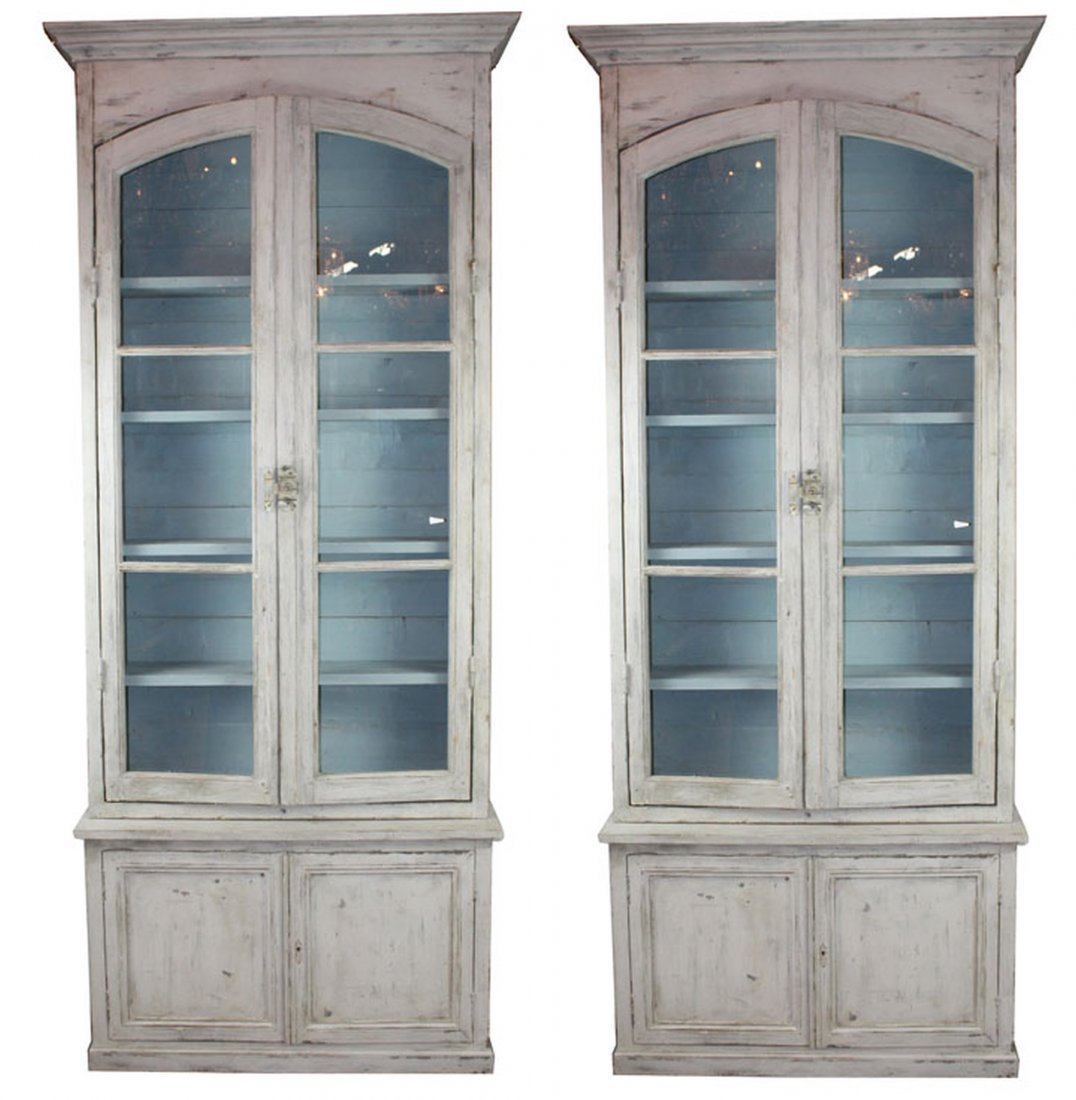Pair of French painted 2 door bookcases