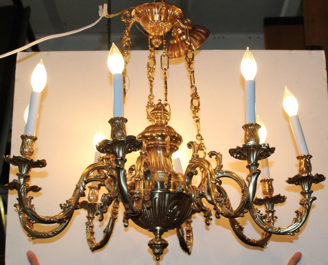 8 light gilt over bronze chandelier