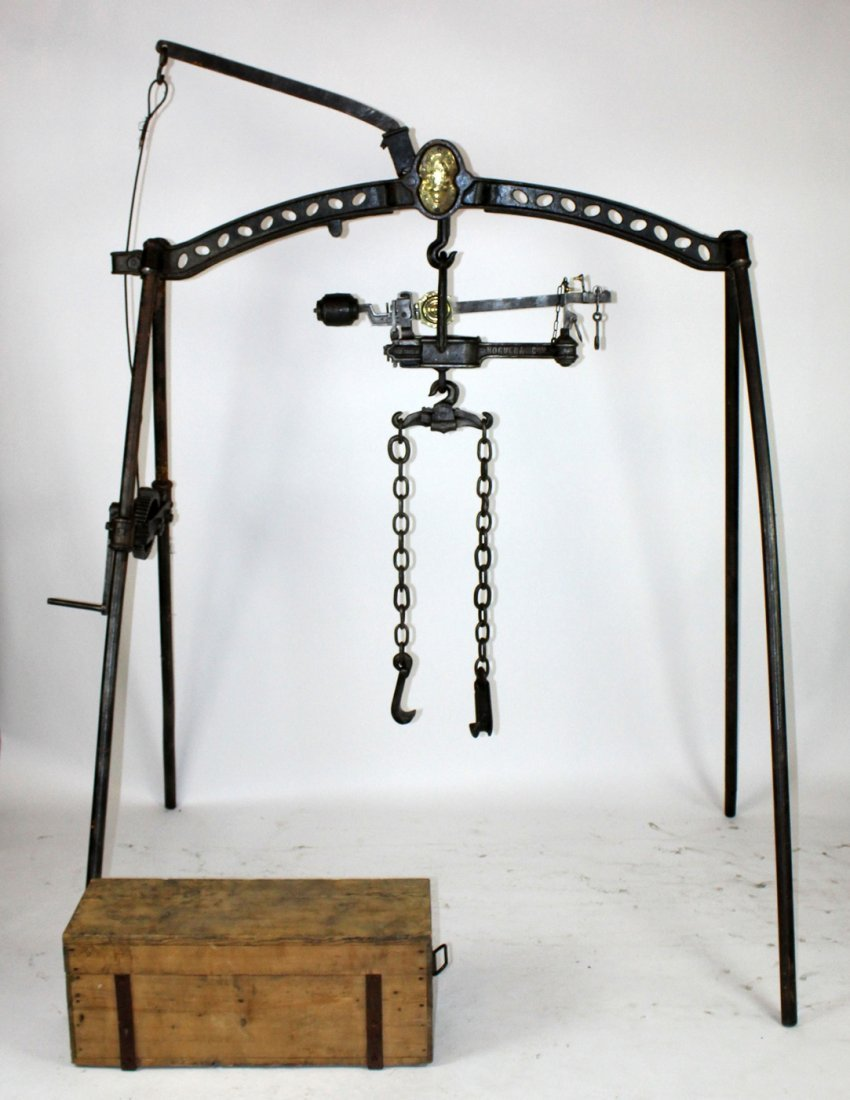 Antique French Noguera iron wine scale with barrel