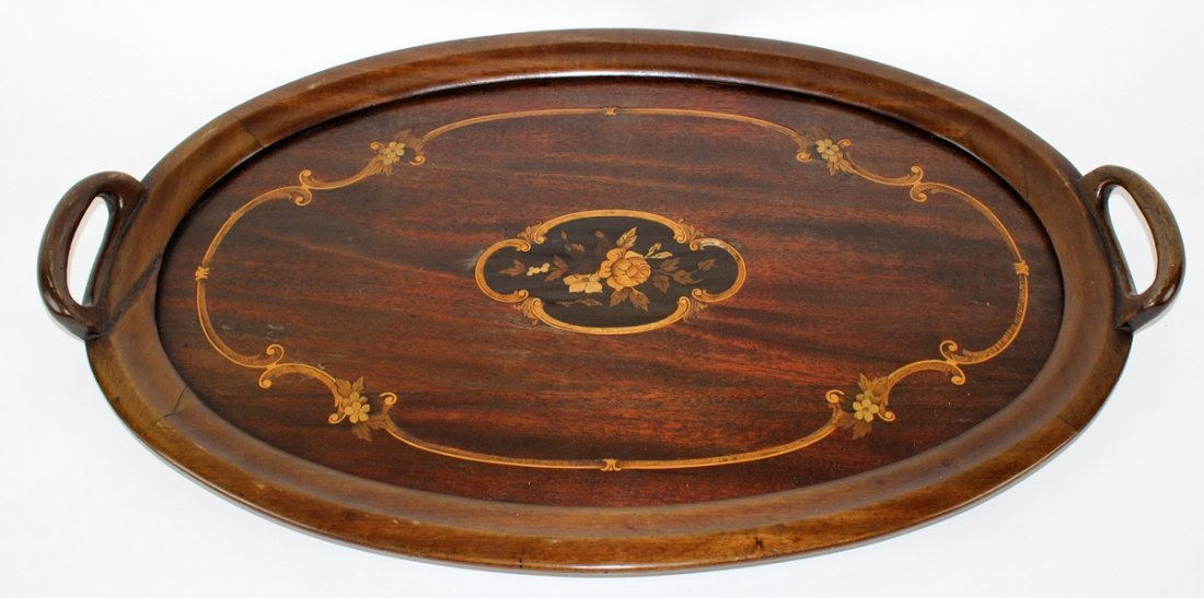 Floral inlaid oval tray with handles