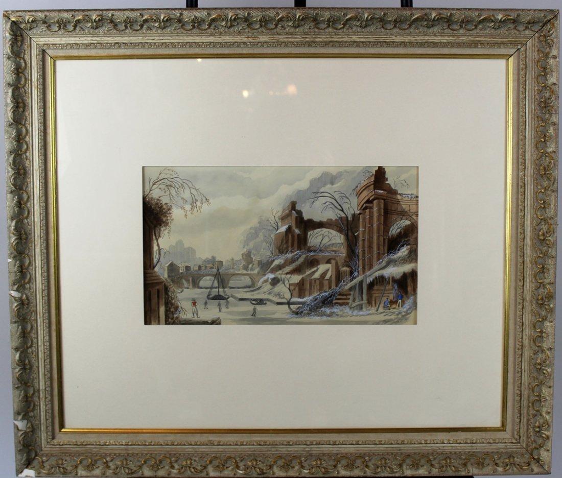 Watercolor on paper depicting winter scene