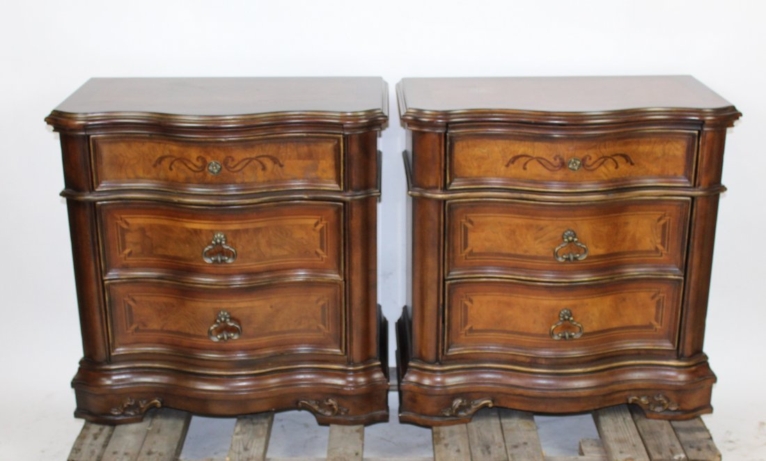Pair of Provincial style 3-drawer small chests