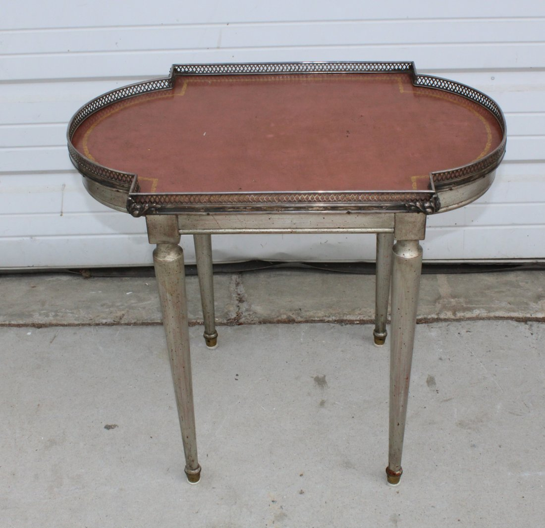 Louis XVI style shaped side table with gallery