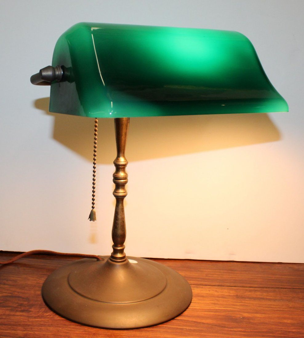 Vintage brass bankers lamp with green glass shade