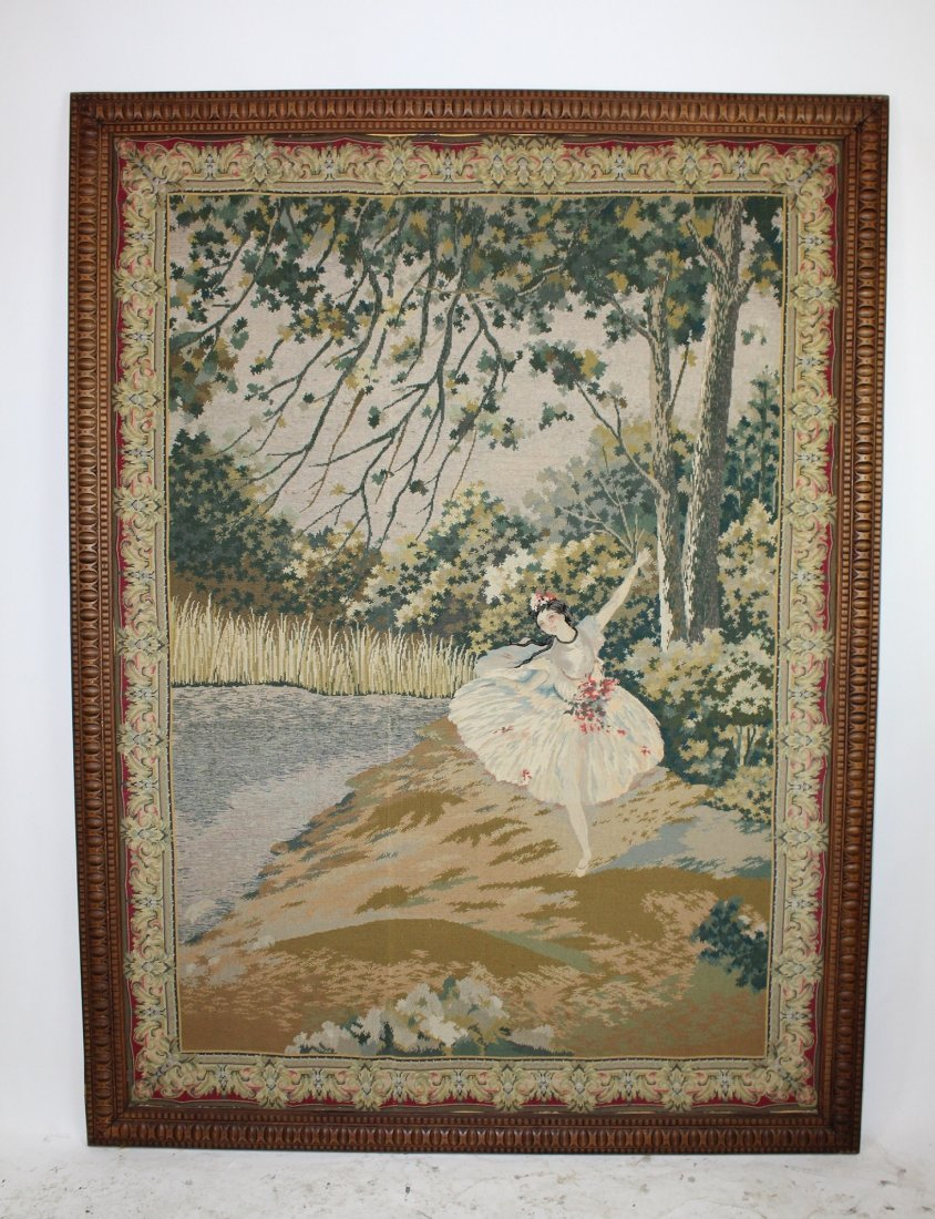 19th century Belgian tapestry with ballerina