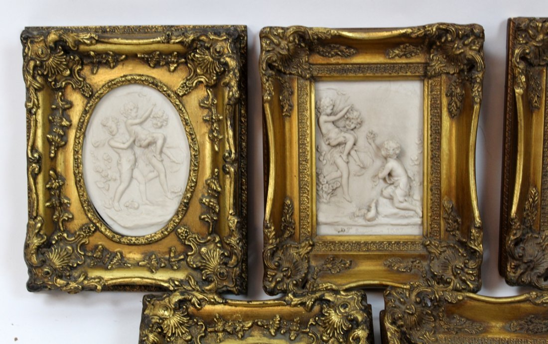 Grouping of 5 cast relief cherub plaques - 2