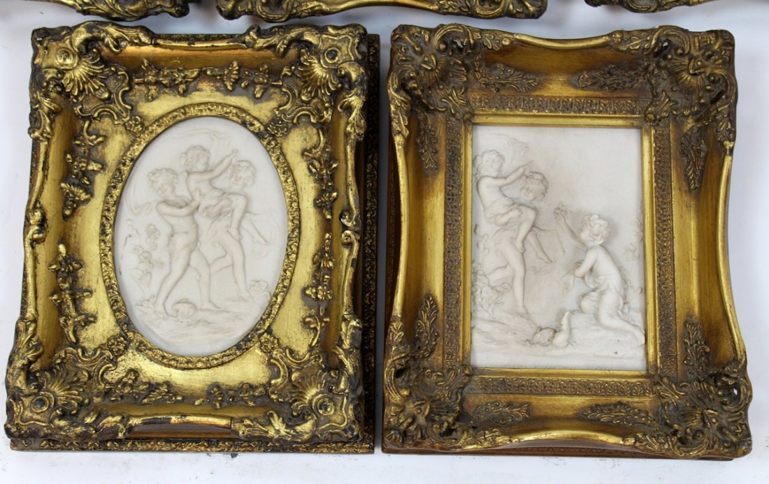 Grouping of 5 cast relief cherub plaques - 3